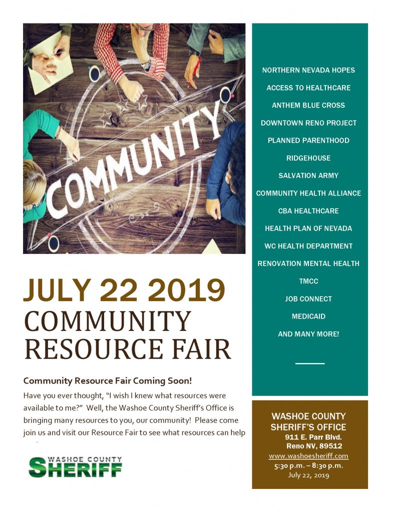 Washoe County Sheriff's Office Community Resource Fair Flyer