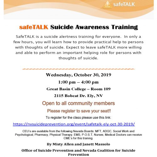 safeTALK Suicide Awareness Training @ Great Basin College – Room 109