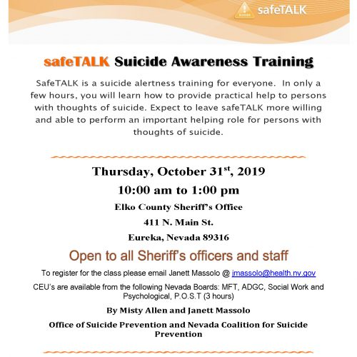 safeTALK Suicide Awareness Training @ Elko County Sheriff's Office