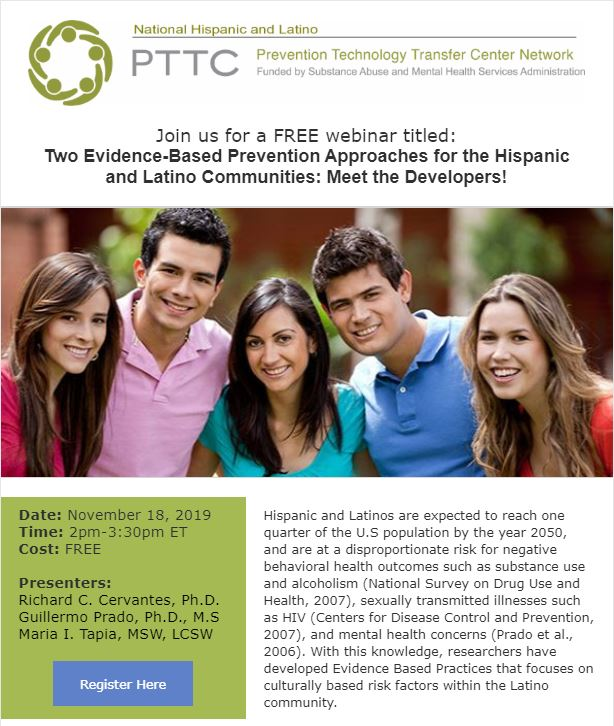 Two Evidence-Based Prevention Approaches for the Hispanic and Latino Communities: Meet the Developers! @ Online Webinar