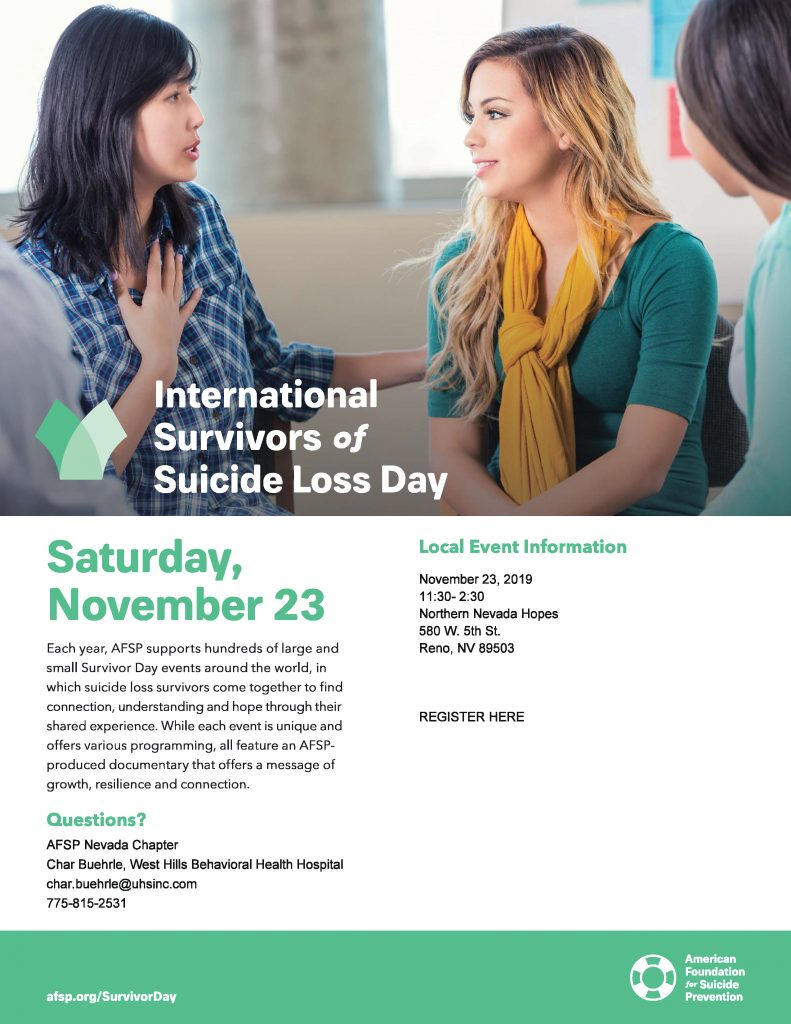 International Survivors of Suicide Loss Day @ Northern Nevada Hopes