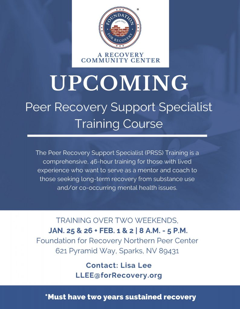 Peer Recovery Support Specialist Training Course (JAN. 25 & 26 + FEB. 1 & 2) @ Foundation for Recovery Northern Peer Center
