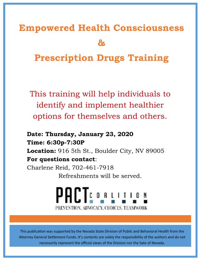 Empowered Health Consciousness & Prescription Drugs Training