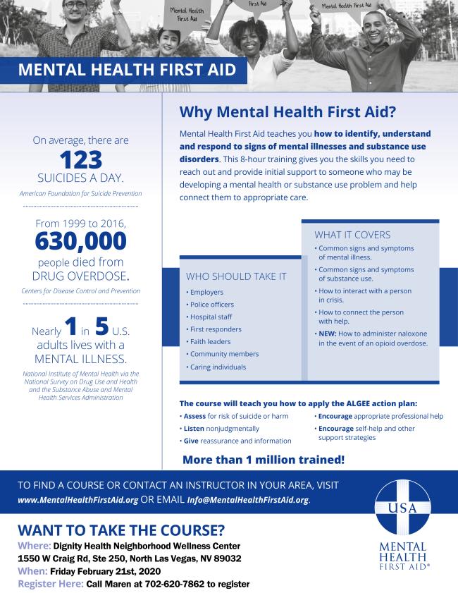 Mental Health First Aid @ Dignity Health Neighborhood Wellness Center