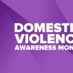 Domestic Violence Awareness Month in October. Celebrate annual in United States. Awareness purple ribbon. Day of Unity. Prevention campaign. Stop women abuse. Poster, banner and background. Vector