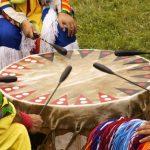 Beating Drum at Indian Pow Wow Teamwork Colorful regalia