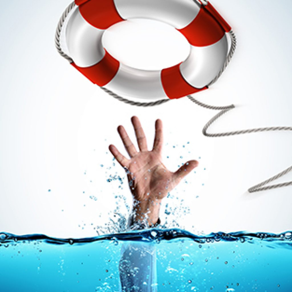 hand reaching out of the water for lifesaver