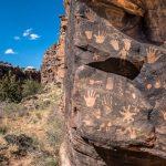 Petroglyphs on a rock in the desert