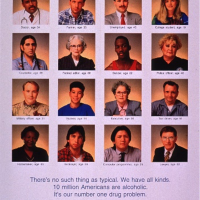 White poster with the portraits of 16 people, four rows of four, from various socioeconomic backgrounds. Each portrait has the age and occupation of the person to show how widespread the disease is. The ages range from 14 to 86 and the occupations vary from student to doctor. The title and picture caption are in blue print and the remainder of the information is in smaller black print at the bottom of the poster.