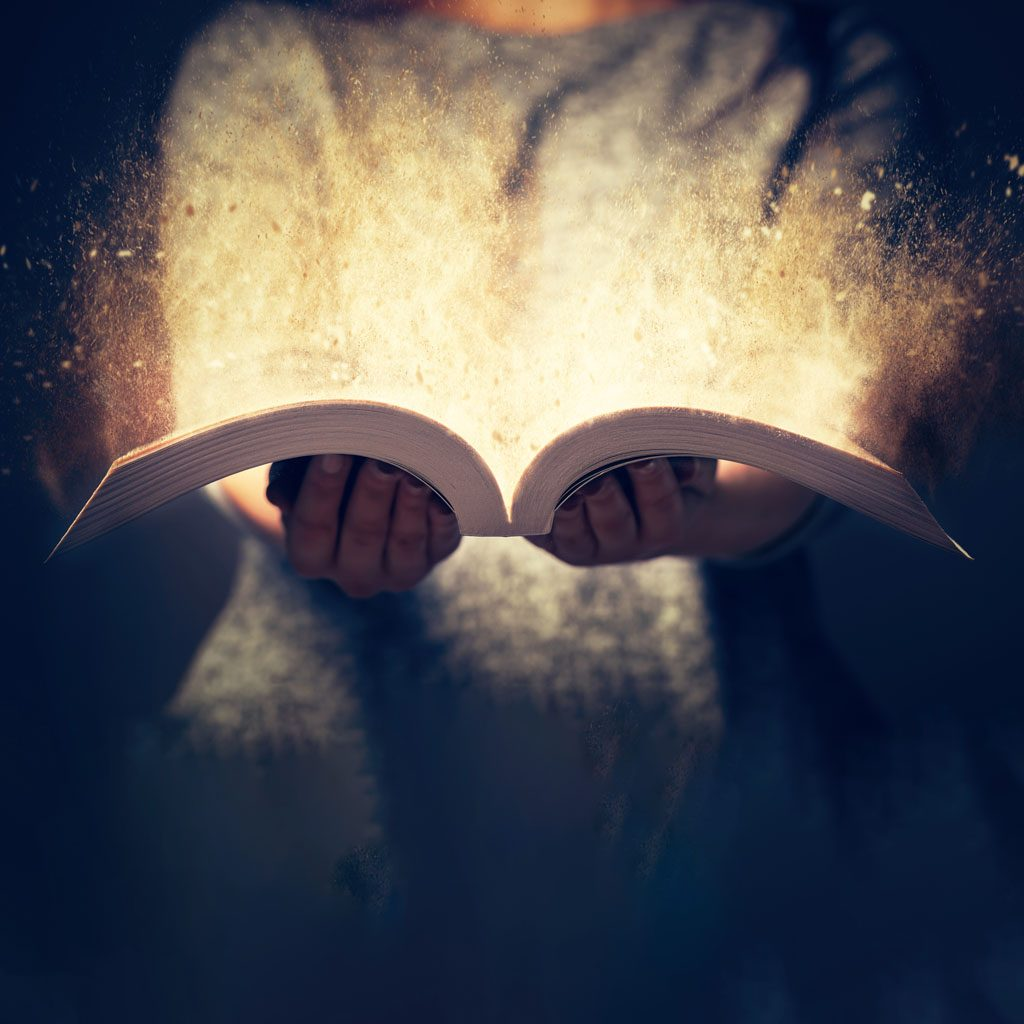 Opening a magical book