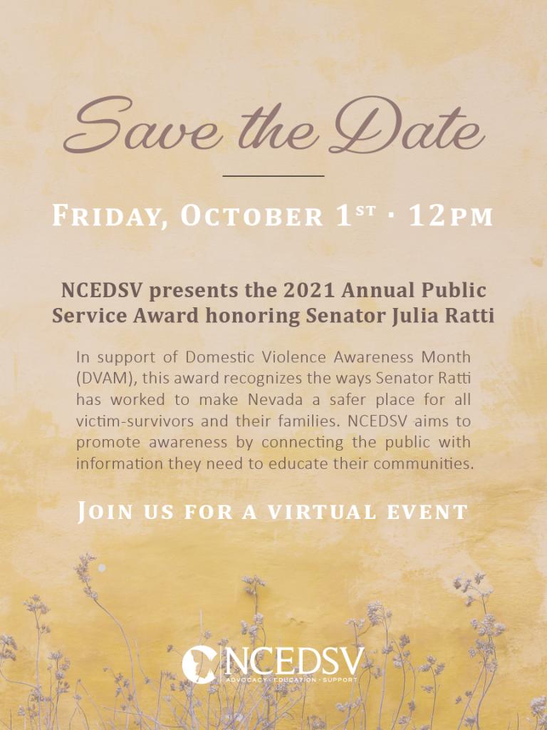 NCEDSV presents the 2021 Annual Public Service Award honoring Senator Julia Ratti @ Virtual Event