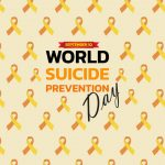 World Suicide Prevention Day concept with awareness ribbon. Design for poster, greeting card, banner, and background.