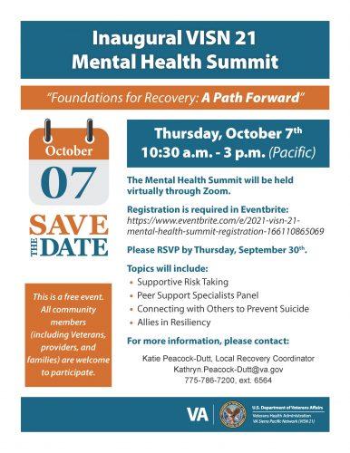 Inaugural VISN 21 Mental Health Summit @ Virtual Event